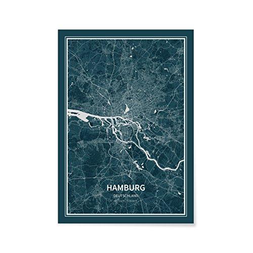 ATLAFLOW Hamburg Poster 70x100cm Städteposter von Hamburg - Premium Wandbild Stadtplan Made in Germany (Tripleflow, 70 x 100 cm)