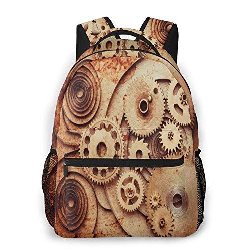 Rucksack für Teens Männer Frauen Speicherpaket,Mechanische Uhren Details Old Rusty Look Backdrop Gears Steampunk Design,Beiläufig Schülertasche Reise-Laptop-Tagesrucksack