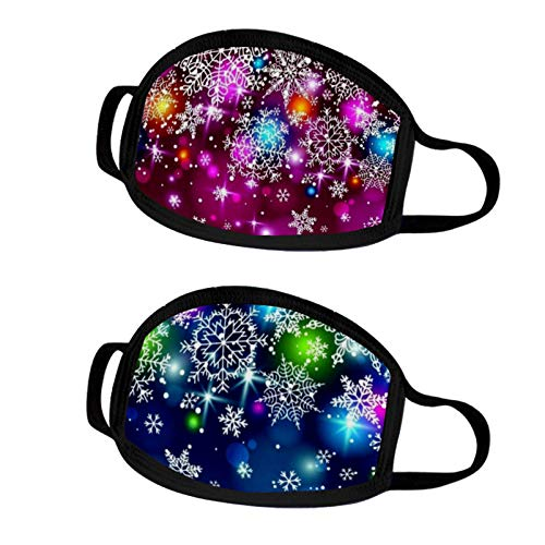 2Pack Christmas Print Reusable Face Mask Covering Bandanas Washable Earloop Outdoor Dust Windproof Best Gifts for Women Men (YB-09)