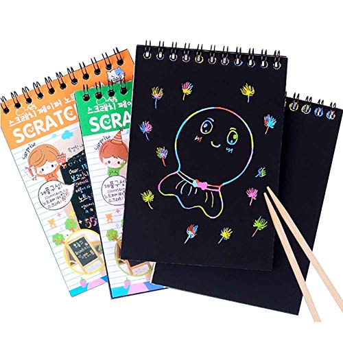 YWXKA Rainbow Scratch Art Notes, 40 Sheets Black Magic Scratch Paper, Doodle Pad Painting Boards, with 4 Bamboo Stylusblack and 4 Rulers, Best Gift