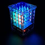 KEYESTUDIO 4x4x4 RGB LED Cube Light DIY Set with 8x8 LED RGB Matrix Driver Board for Arduino AnimationColor Light Show, Great Electronics Soldering Kit for Children and Teenagers Learning