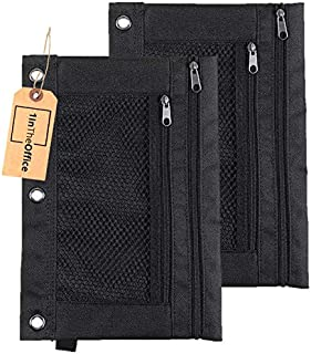 1InTheOffice Pencil Pouch 3 Ring, Black,