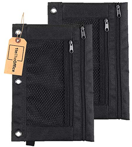 """1InTheOffice Pencil Pouch 3 Ring, Black,""""2 Pack"""" (Canvas Black)"""