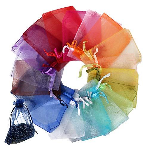 FLOFIA 100 Bolsas Bolsitas de Organza de Boda 7x9cm Colores Blanco Azul Pequeñas Bolsas Regalo Organza Tul para Joyas Joyería Arroz Recuerdo Favores Detalles de Boda Caramelo Dulces, Multicolor