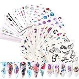 VEGCOO 54 Hojas Nail Art Stickers Uñas Decoración Pegatinas de Arte, 3D Uñas Art Pegatinas Autoadhesiva Decorativas (A)