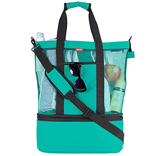 Mesh Beach Bag Tote with Insulated Cooler by OdyseaCo - Large Zippered High Capacity (Turquoise)