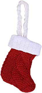 HSada Crochet Cable Knit Christmas Stockings Tableware Holder Knife Spoon Fork Bag for Xmas Party Dinner Table Decoration Supplies - 11 x 7cm