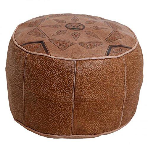 Orientalisches Leder-Sitzkissen Sitzpouf Kamel braun D 42 x H 30 cm rund inkl. formstabiler Füllung   Marokkanischer Polsterhocker Fußhocker handmade Hocker Sitzhocker   Echtleder Pouf aus Marrakesch