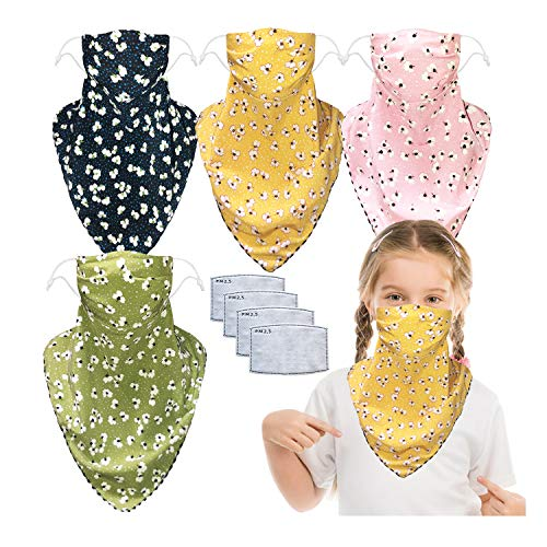4 Packs Kids Summer Sun Mask Face Covers with Carbon Filter Pocket Neck Gaiter Balaclavas Adjustable Strap for Outdoors (4 pcs floral, one size)