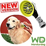 Wondurdog Quality Outdoor Dog Wash Garden Hose Nozzle w/Metal Adapter and Water Pressure Control | Innovative Shower Brush w/Splash Shield | Keep Water Away from Dogs Ears, Eyes and Yourself!