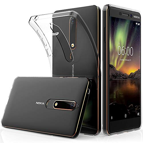 Finemoco Cover Nokia 6.1 Custodia Trasparente Silicone Morbido Protezione Case Antiurto Gel TPU Gomma Flessibile Custodia Sottile Cover per Nokia 6 2018 - Cristallo Trasparente