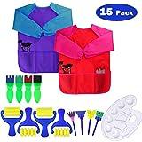 Dreampark キッズアートエプロン 子供用 アートスモック 防水 長袖 3ゆったりポケット 2~6歳 (ペイントとブラシは含まれません) Dreampark-367