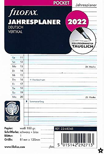 Filofax 22-68245 Kalendereinlage Pocket: Jahresplaner deutsch vertikal 2022