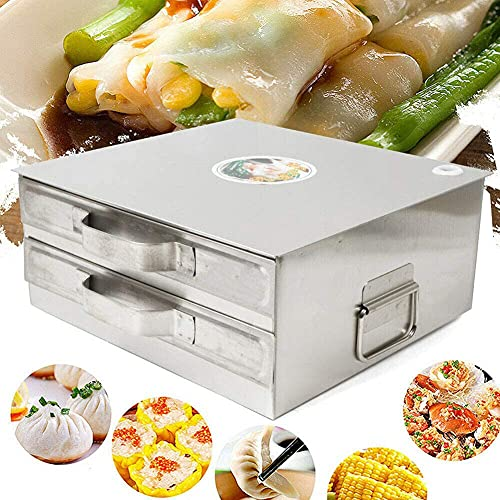 Cakunmik Rice Noodle Steamer 2-Layer Stainless Steel Steamer with Portable Handle Including Scraper And Brush for Home Restaurant Rice Roll Lovers, Rice Noodle Machine