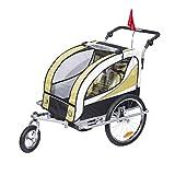 HOMCOM Kinderanhänger 2 in 1 Fahrradanhänger Kinder Jogger Anhänger für 2 Kinder Gelb-Schwarz