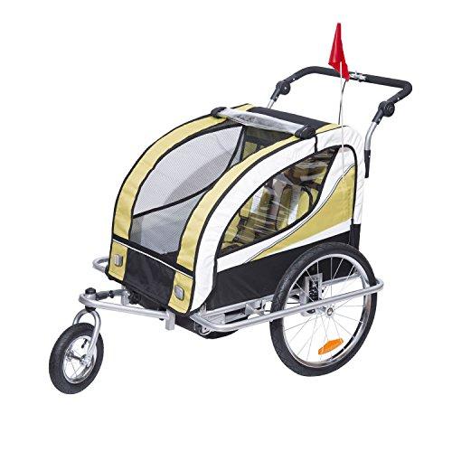 HOMCOM Kinderanhänger 2 in 1 Fahrradanhänger Kinder Jogger Anhänger 360° Drehbar für 2 Kinder gelb-schwarz
