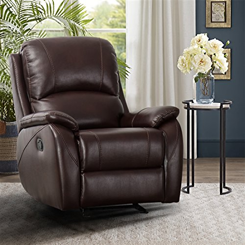 CANMOV Bonded Leather Recliner Chair (Brown-003)