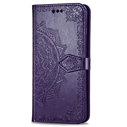 3C Collection Fundas Huawei P30 Lite Tapa de Falsa Piel Mandala Púrpura, Fundas Huawei P30 Lite Libro Iman con Tarjetero, Grabado Flores de Funda para Huawei P30 Lite Antigolpes Mujer