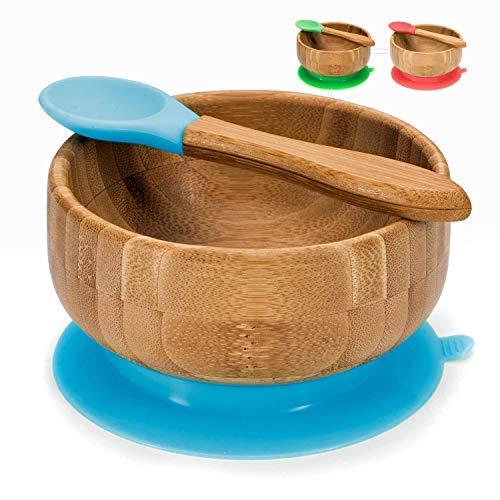 all Kids United Baby Breischale, Bambusschüssel mit Saugnapf - Brei-Schüssel Bambus Schale