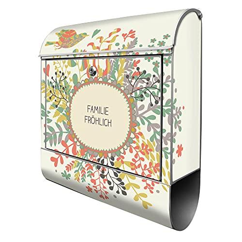 banjado® Design Briefkasten personalisiert mit Motiv WT Frühling 39x47x14cm & 2 Schlüssel - Briefkasten Stahl silber mit Zeitungsfach pulverbeschichtet - Postkasten A4 Einwurf inkl. Montagematerial