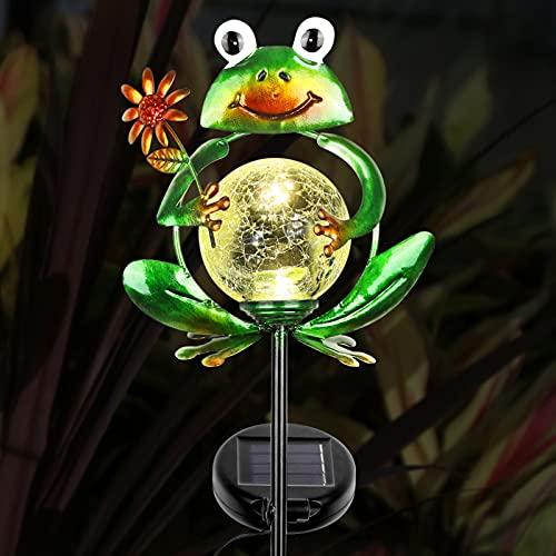 Litake Solar Gartenleuchte Frosch,Gartendeko Solarleuchten für Außen Metall Tierfiguren Wasserdichte Garten-Solarleuchten im Freien Gartenfiguren