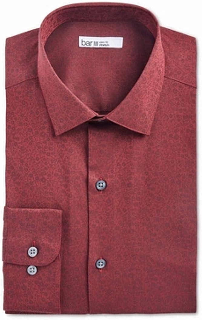 Bar III Mens Dress Shirt (17-17 1/2) Floral Slim-Fit Stretch Red XL