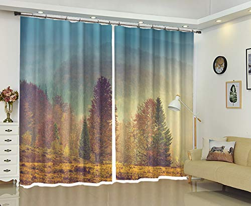 AmDxD 2 Panels Polyester Window Curtains, Curtains for Windows Blackout Wild Forest Pattern Bedroom Curtains Decorative, Machine Washable, Red Orange, 84 W x 63 H Inches