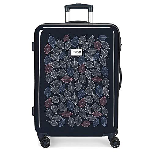Movom Leaves Blue Medium Suitcase 48 x 68 x 26 cm Rigid ABS Combination Lock 70 Litre 3.7 kg 4 Double Wheels