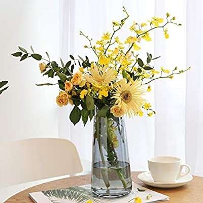 Lewondr Glass Vase, 8.7 Inch Irised Crystal Ins Style Decorative Vase Floral Flower Plant Bud Vase Container Decoration for Office Home Kitchen, Gift for Wedding Christmas Housewarming - Smoky Grey