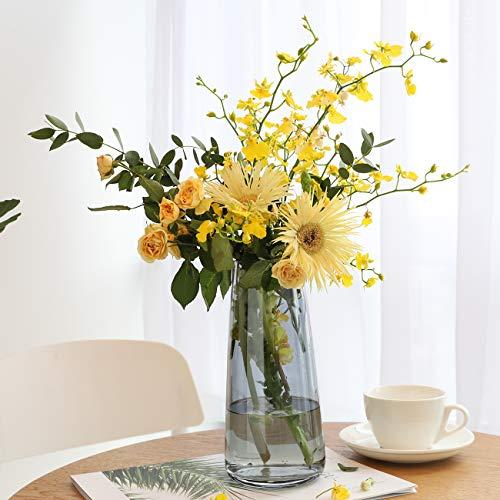 Lewondr 22cm Vaso da Fiori di Vetro, Accessori Fiori da Giardino, Camera, Ufficio, Portafiori Vasi per Piante, Fiori, Casa - Grigio Fumo