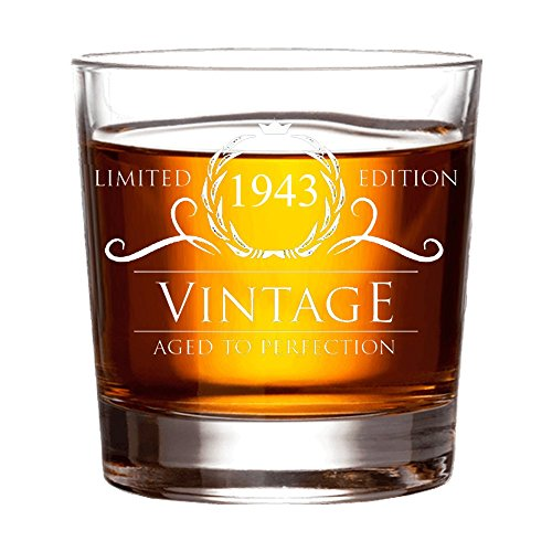 1943 76th Birthday Gifts for Women and Men Whiskey Glass   Funny Vintage 76   Anniversary Gift Ideas for Him Her Dad Mom Husband Wife   11 oz Whisky Bourbon Scotch Glasses   Party Supplies Decorations