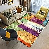 Alfombra alfombras pasilleras Modernas La Alfombra de la Sala de Estar del Estilo de la Pintura al óleo del Arte de la Tinta púrpura Amarilla Verde no se desvanece moqueta para el Suelo 60*160cm