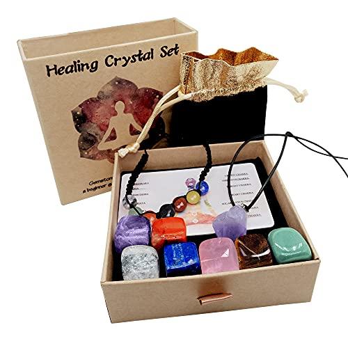 7 pezzi di pietre chakra Pietre chakra naturali di cristallo curative per la terapia di cristallo, la guarigione dei chakra, la meditazione bracciale e collana di ametiste