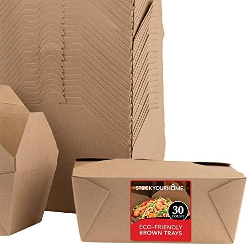 Microwavable Kraft Brown Take Out Boxes 112 oz 30 Pack Disposable Food Containers Recyclable product image
