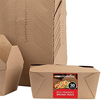 Microwavable Kraft Brown Take Out Boxes 112 oz  30 Pack  Disposable Food Containers - Recyclable Cardboard Lunch Box - Take Out Containers Disposable - to Go Boxes for Restaurants Delivery Catering
