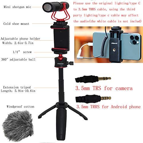 HAFOKO Smartphone Vlog Kit Vlogging Kit Vlogger Video Accessory Vlog Rig kit with Extendable Tripod Shotgun Microphone Phone Holder Compatible for Phone Camera YouTube TikTok Living
