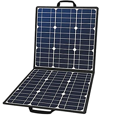 50W 18V Portable Solar Panel, Flashfish Foldable Solar Charger with 5V USB 18V DC Output Compatible with Portable Generator, Smartphones, Tablets and More