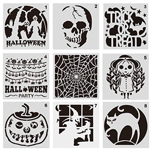 9 piezas de plástico plantillas de dibujo de Halloween Temas Plantilla de Escala, Calabaza, Esqueleto, W
