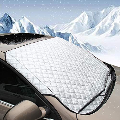 BEEWAY Frontscheibenabdeckung, Ultra-Dick Auto Windschutzscheiben Abdeckung Sonnenblende Wintergegen Schnee Eis Frost Sonne UV Staub Wasserbeständig(147 x 100cm)
