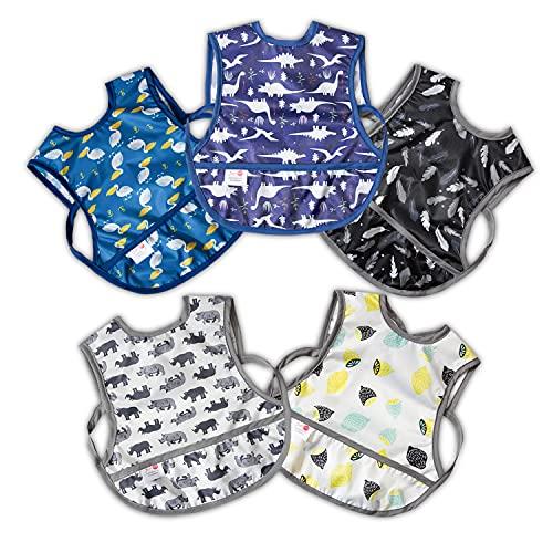 ベビーエプロン 男の子 ポケット付き 5枚セット 食事用エプロン ベビー 速乾 防水 通気 丸洗い エプロン 幼児