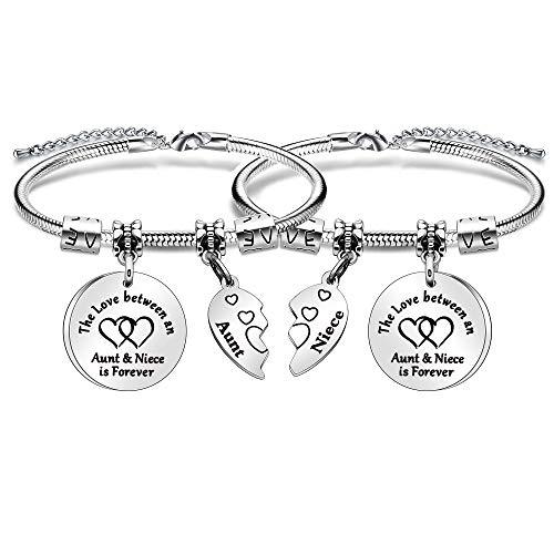 2 pulseras de regalo de tía sobrina, con colgante de corazón roto de plata, ajustable, 'El amor entre una tía y sobrina es para siempre'