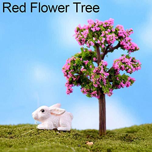 Steellwingsf miniature Arbre Fairy Garden Ornement extérieur Décor Maison de poupée Pot figurine DIY Craft Ornement, Plastique, métal, multicolore, Red Flower Tree
