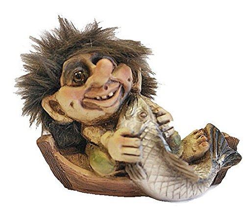 ORIGINAL NORWEGISCHE TROLLE * NyForm Troll mit Zertifikat 028* Troll mit Fisch & Boot 9,5cm