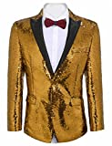 JINIDU Mens Shiny Sequins Suit Jacket Blazer One Button Tuxedo for Party, Wedding, Banquet, Prom, Nightclub Golden