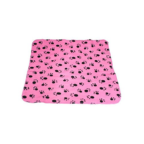 WZYuan Puppy Blanket Paw Prints Pet Cushion Small Dog Cat Bed Soft Warm Sleep Mat (Pink)