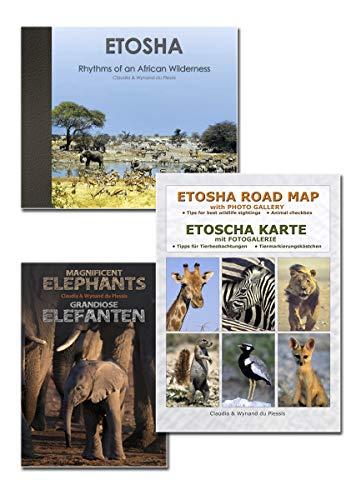 Das komplette ETOSHA SET (3-teilig): Einzigartiger Bildband ETOSCHA + ETOSHA KARTE (mit Fotogalerie der Wildtiere) + Fotoheft GRANDIOSE ELEFANTEN mit Insider-Infos, ideal für Planung, Reise & als Reiseerinnerung