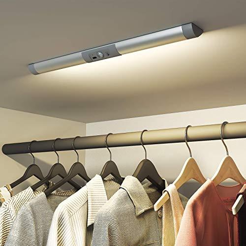 SIBI LED Licht mit Bewegungsmelder, USB Wiederaufladbar Kleiderschrank Beleuchtung, Augenschutz Design Schrankbeleuchtung, Stick an überall für Schrank, Treppen, Flur, Normales Weiß 4000K, 1 Stück