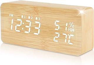 Acelectronic Réveil Bois LED,Digital Horloge Numerique Alarm Clock Electrique Wooden Reveil avec Date Température Calendri...