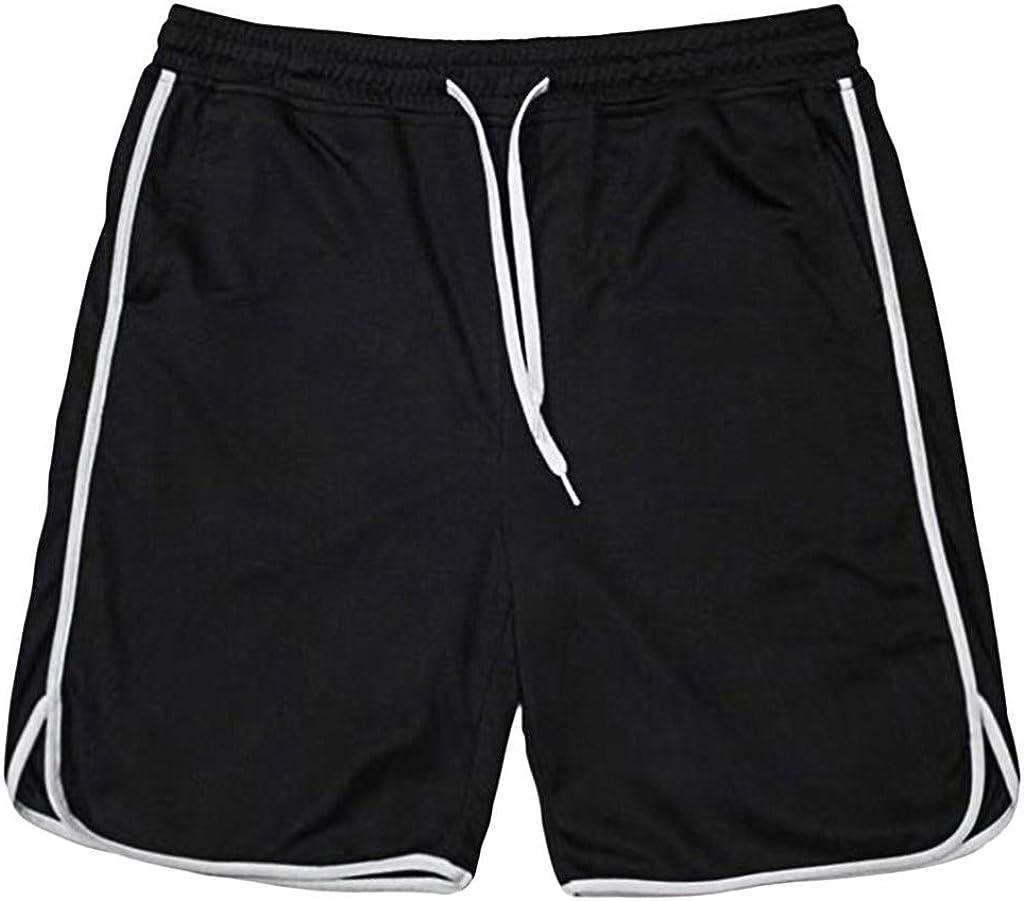 MODOQO Workout Shorts for Men,Fashionable Drawstring Solid Color Loose Fit Athletic Short Pants