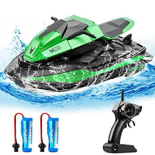 40 Mins Remote Control Boats Motorcycle for Pools and Lakes, JJRC 2.4GHz Racing Speedboat for Kids and Adults with Double Power, Low Battery Reminder, 2 Batteries RC Boat Toy(Green)